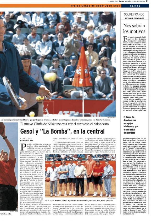 2001 La Vanguardia 23 abril