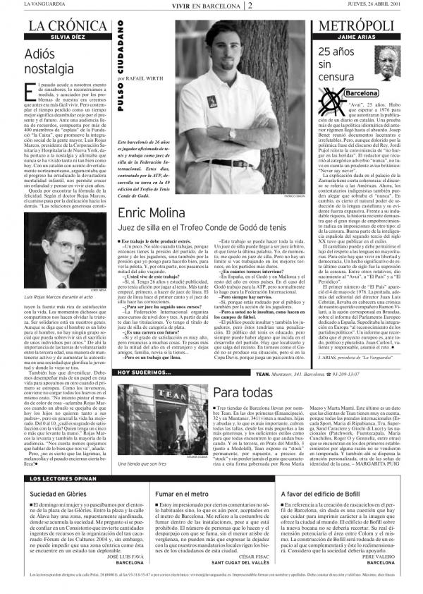 2001 La Vanguardia 26 abril